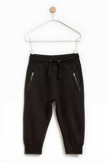 Trousers with zip and drawstring