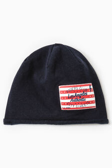 Beanie cap with patches, Navy Blue, hi-res