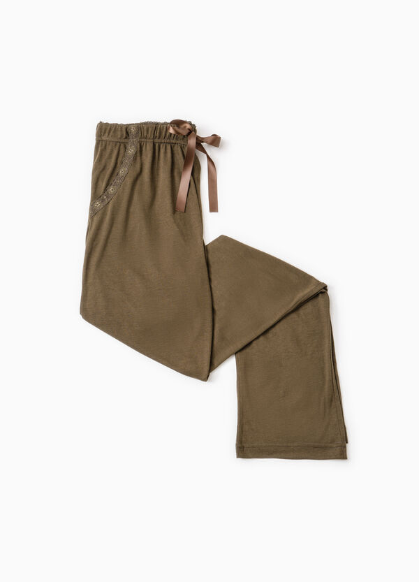 Viscose pyjama bottoms with lace | OVS
