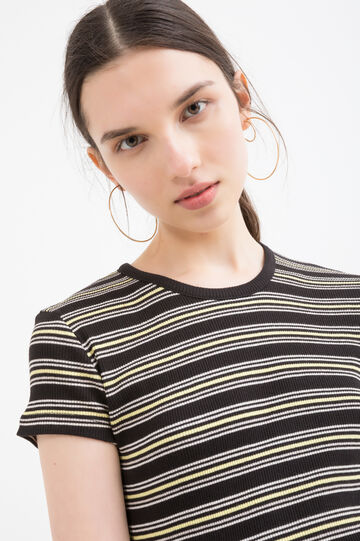 Cotton blend striped T-shirt, Black, hi-res