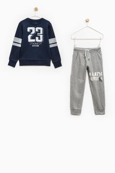 Tracksuit in 100% cotton with print, Blue/Grey, hi-res