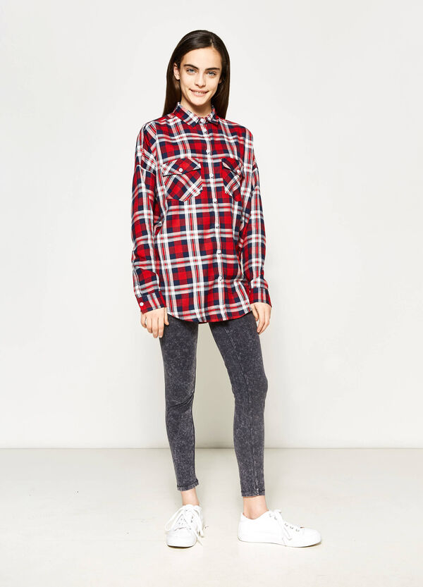 Camicia tartan in viscosa Teen | OVS