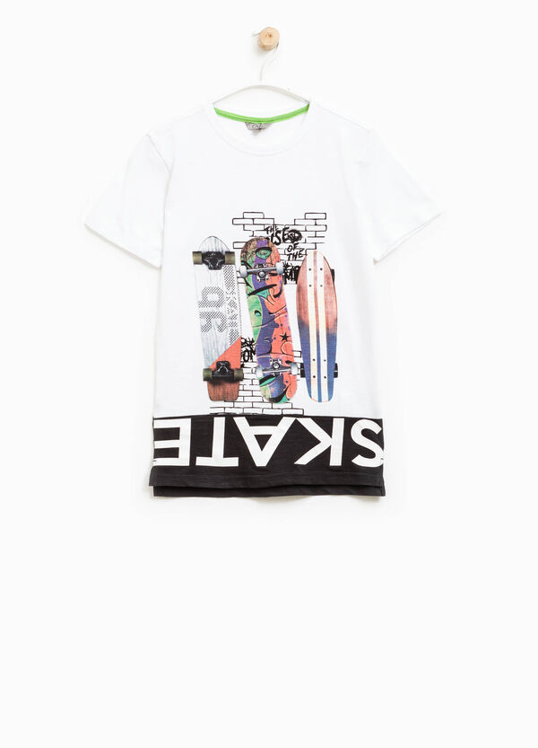 Printed T-shirt with contrasting hem | OVS