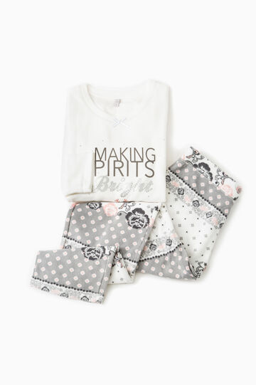 Fleece pyjamas with print and pattern, Cream White, hi-res