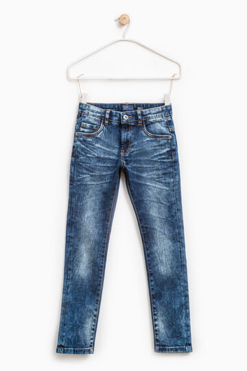 Worn-effect jeans with whiskering and fading., Medium Wash, hi-res