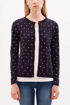 Cardigan with all-over print, Blue, hi-res
