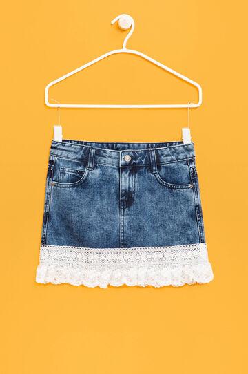 Denim skirt with lace, Denim, hi-res