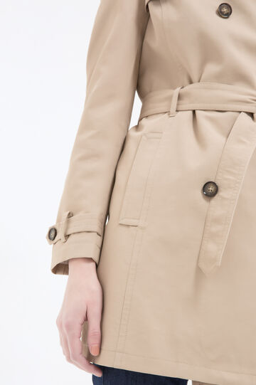 Solid colour cotton blend trench, Beige, hi-res