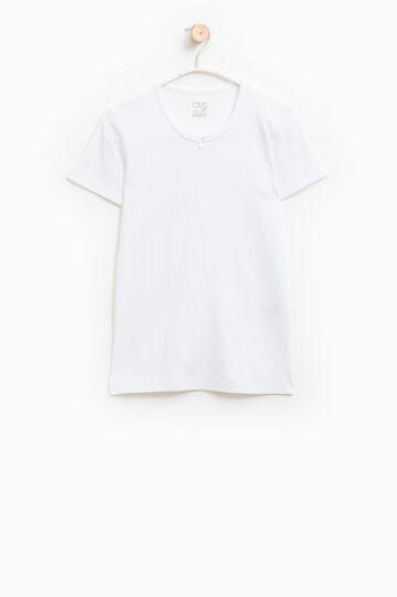 Solid colour cotton undershirt., White, hi-res