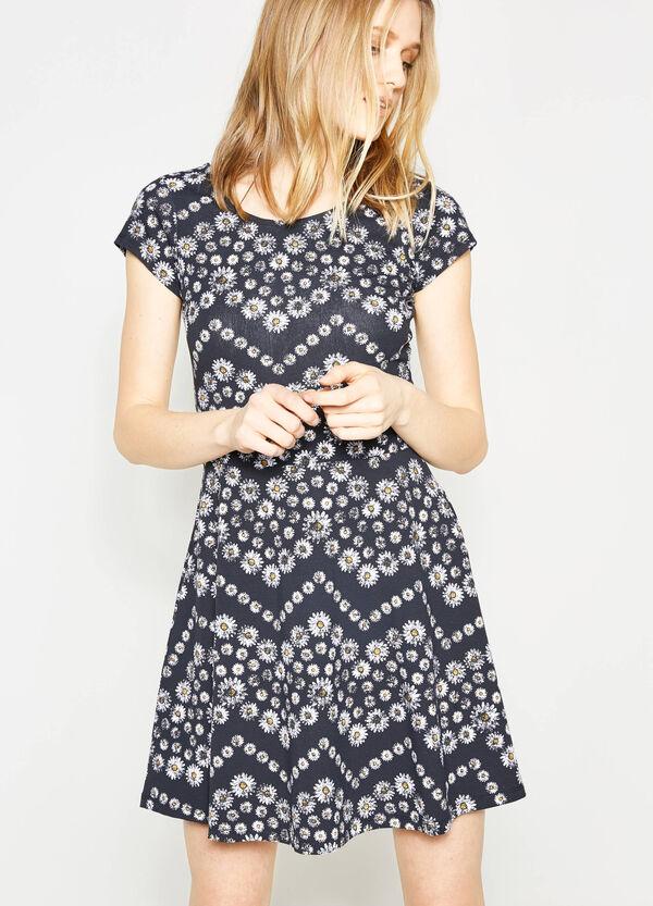 Vestido en algodón elástico con estampado por todo | OVS