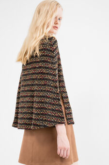 Wool and lurex blend short poncho, Multicolour, hi-res