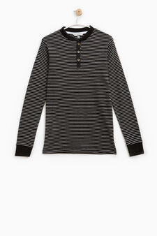 Striped pattern T-shirt in 100% cotton, Grey, hi-res