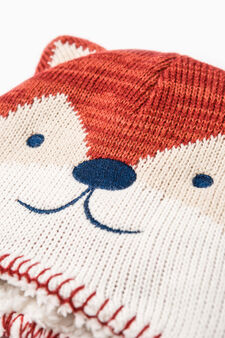 Beanie cap with fox embroidery, Orange, hi-res