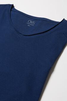 Stretch viscose blend pyjama top, Blue, hi-res
