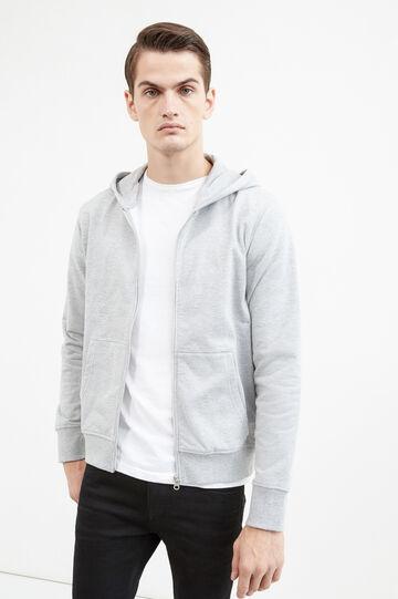 Solid colour cotton blend hoodie, Light Grey, hi-res
