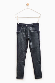 Trousers with leather look insert, Dark Blue, hi-res