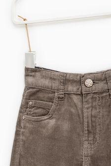 Pantaloni a costina tinta unita, Marrone, hi-res