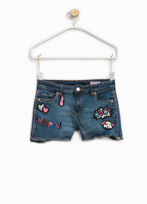 Stretch denim shorts with patches | OVS
