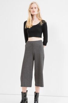 Stretch cotton ribbed Gaucho trousers, Dark Grey, hi-res