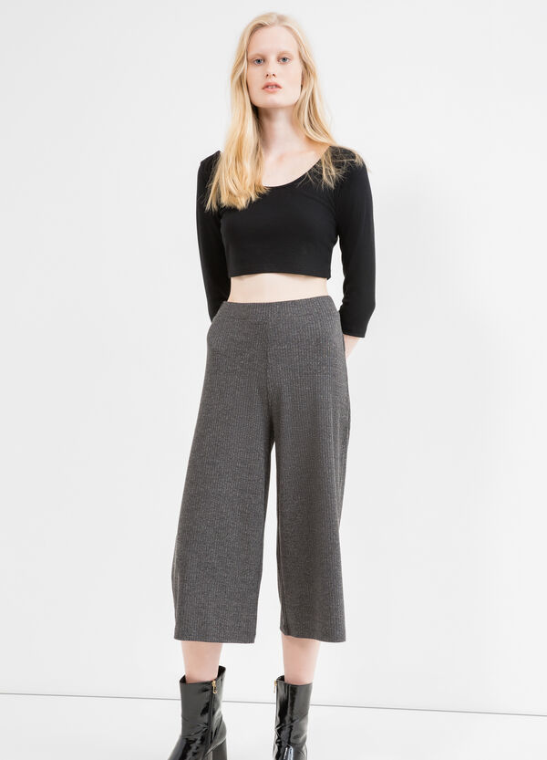 Stretch cotton ribbed Gaucho trousers | OVS