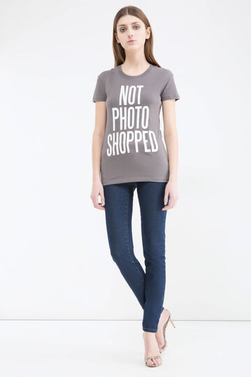 Cotton T-shirt with printed lettering, Stone Grey, hi-res