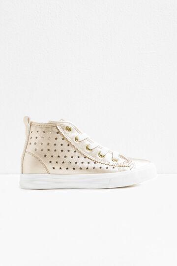 Sneakers with openwork stars on upper, Golden Yellow, hi-res