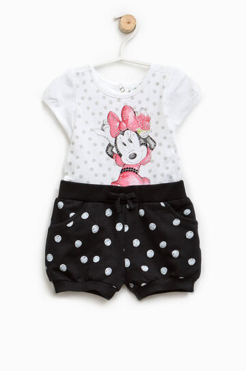 Polka dot romper suit with Minnie Mouse print