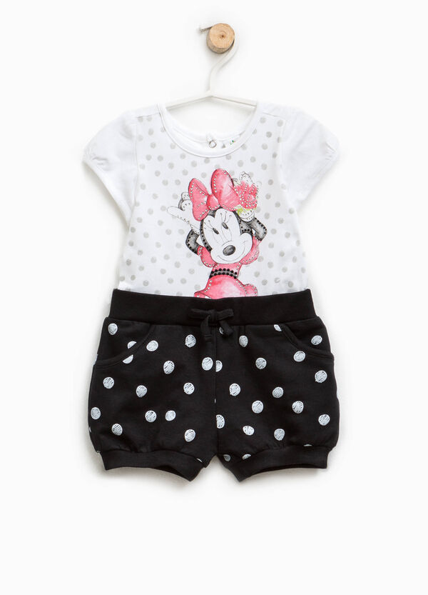 Polka dot romper suit with Minnie Mouse print | OVS
