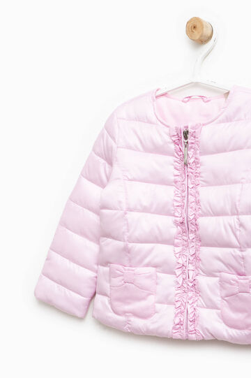 Down jacket with bow and flounces, Pink, hi-res