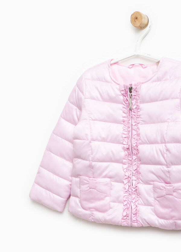 Down jacket with bow and flounces | OVS