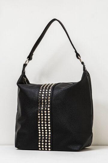 Shoulder bag with zip and studs, Black, hi-res