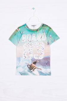 100% cotton T-shirt with all-over print, Multicolour, hi-res