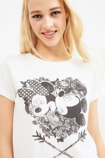 T-shirt with Mickey and Minnie Mouse print, Milky White, hi-res