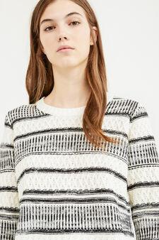 Pullover tricot con frange fantasia, Bianco/Nero, hi-res
