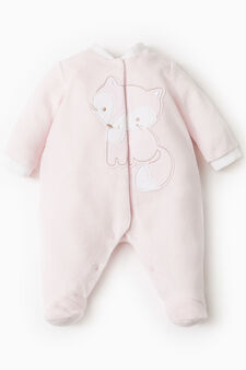 Onesie with feet and animal patch, Light Pink, hi-res