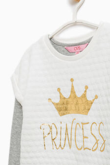 100% cotton T-shirt and sweatshirt set., Milky White, hi-res