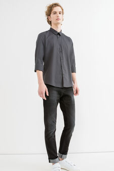 Slim-fit casual shirt with micro pattern, Black/Grey, hi-res