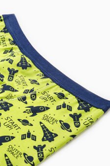 Patterned boxers in stretch cotton, Green, hi-res