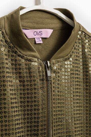 100% cotton sweatshirt with zip, Green, hi-res