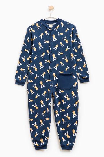 Tuta pigiama in cotone stampa renne, Blu/Giallo, hi-res