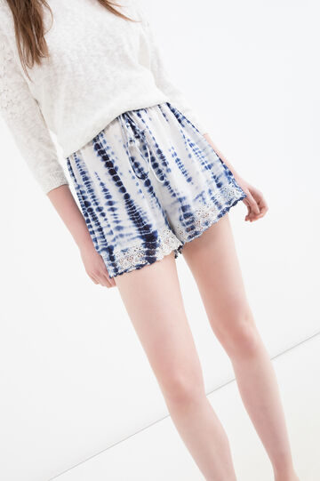 100% viscose patterned shorts, White, hi-res