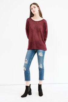 Patterned stretch sweatshirt, Dark Red, hi-res