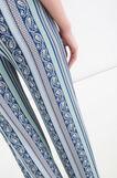 Pantaloni vita alta stretch stampati, Azzurro, hi-res