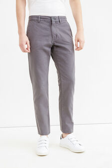 Solid colour regular-fit chino trousers, Slate Grey, hi-res