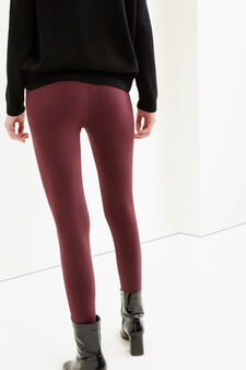 Solid colour stretch cotton leggings, Claret Red, hi-res