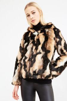 Patterned jacket in faux fur, Brown, hi-res
