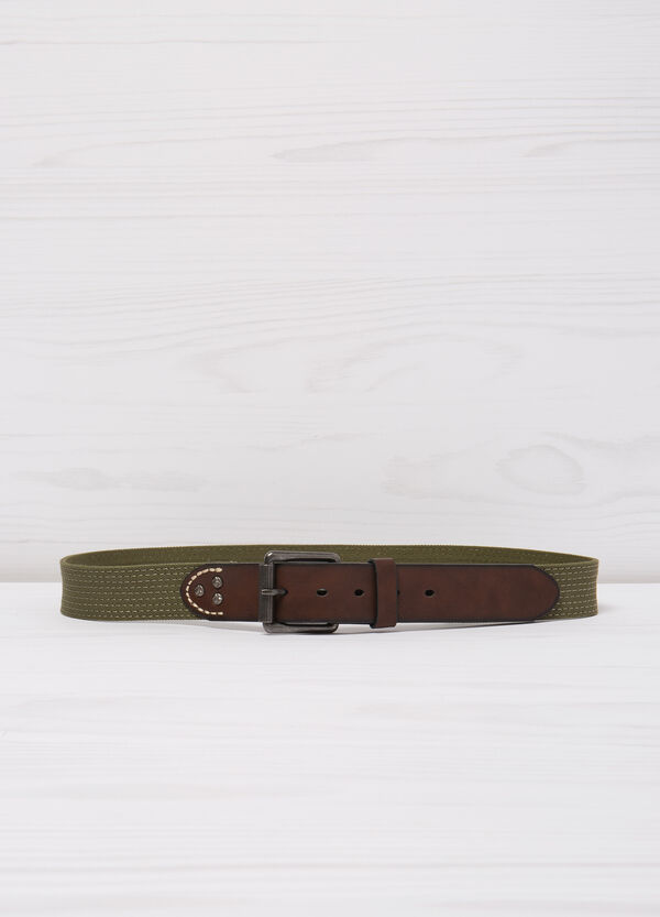 Belt with leather look inserts | OVS