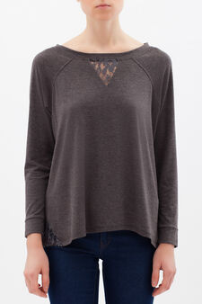 Viscose mix T-shirt with lace, Grey, hi-res