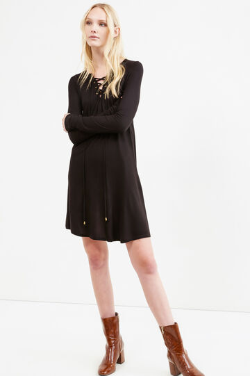 V-neck, full-length pleated viscose dress, Black, hi-res