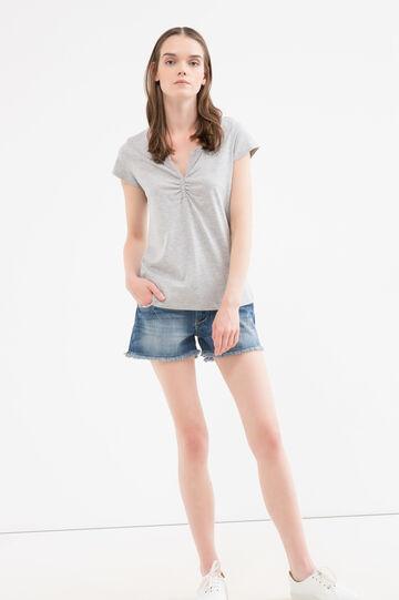 T-shirt puro cotone con strass, Grigio, hi-res
